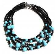 Collana multifilo con corallo del Mediterraneo e perle di acqua dolce. Chiusura in argento 925