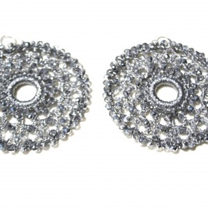 Orecchini di macramè con cristalli swarovski. Monachella in argento 925