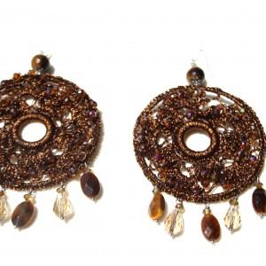 Orecchini di macramè con cristalli swarovski e occhio di tigre. Monachella in argento 925