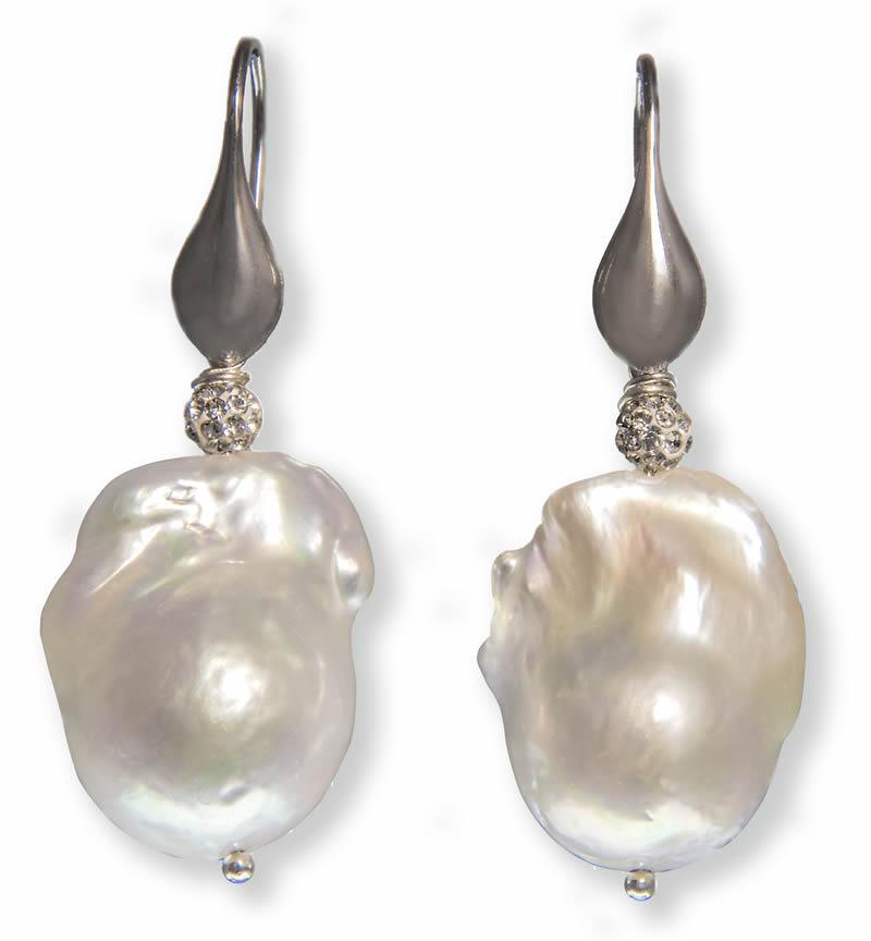 acquisto autentico pensieri su carina Orecchini con perle barocche e monachella in argento 925
