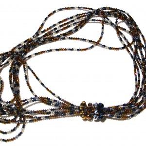 Collana multifilo con cristalli Swarovski  argento